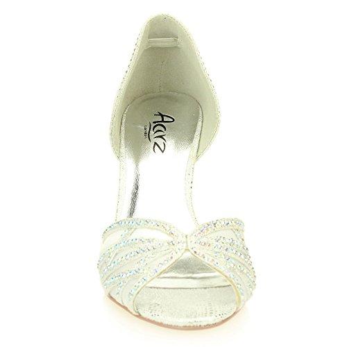 Peep tacón Diamante Zapatos Plata tamaño Party Kitten Oro Mujer Sandalia Nupcial Señoras Boda Medio Noche Toe Plata xnw0aO8q7Y