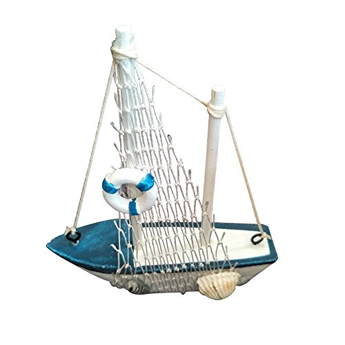 Wansan Miniature Sailboat Model Wooden Sailing Boat Navy Blue and White with Lifebuoy Home Decor