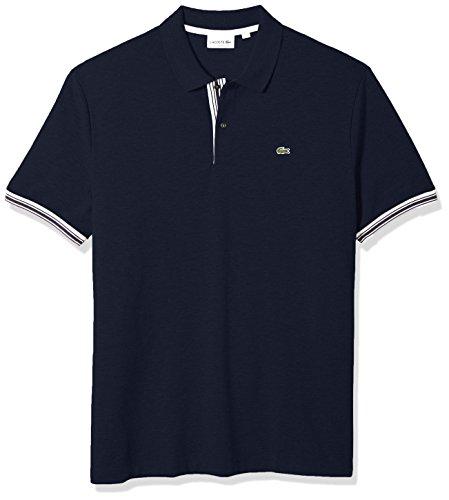 Lacoste Men's Short Sleeve Semi Fancy Petit Pique Slim Polo, PH3187, Navy Blue, XX-Large (Lacoste Polo Pique Mens)