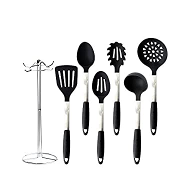 Pro31Living Kitchen Utensils - Silicone and Stainless Steel Cooking Set with Holder Tools for Nonstick Cookware