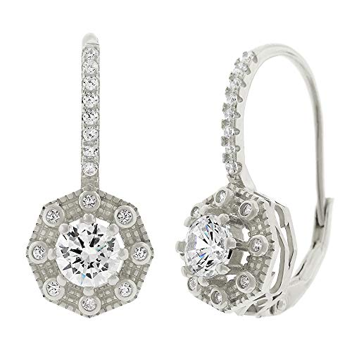 .925 Sterling Silver Womens Cubic Zirconia CZ Halo Round Clear Micro Pave Prong Set Leverback Earrings (White) ()