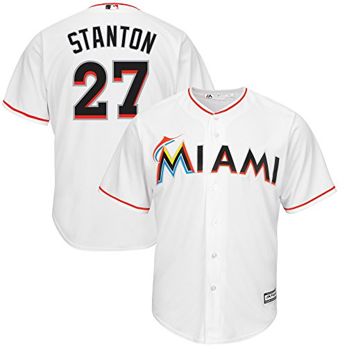 Giancarlo Stanton Miami Marlins White Youth Cool Base Home Replica Jersey (Small 8)
