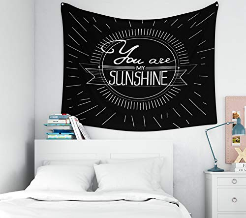 You-Are-My-Sunshine Tapestry,Tapestry for Flag Day,Capsceoll 60x50Inches Tapestries Hand drawn vintage print with hand lettering and decoration You are my sunshine This illustration ca Wall Hanging Ta (La Hearts Ca Flag Tapestry)