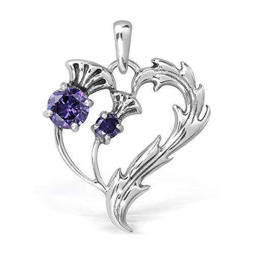 (WithLoveSilver 925 Sterling Silver Scottish Thistle Heart Round Simulated Purple Cubic Zirconia Pendant )