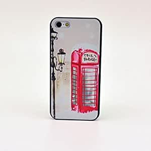 Fashionable Red Telephone Booth Pattern Black Plastic Hard Case for iPhone 5/5S Protective Case