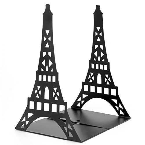 Bookends, Non Skid Heavy Metal Durable Sturdy Strong Books Organizer, Eiffel Tower Bookshelf Decor for Bedroom Library Office School Supplies Stationery Gift by COOLGUY (Black)
