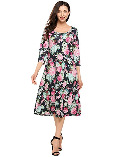 Hotouch Women Summer Swing Tunic A-Line and Flare Midi Long Dress(Navy Blue, L) (Dress Peony Long)