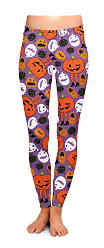 Two Left Feet Women's Standard Halloween Leggings, Attack of the Pumpkins, Small/Medium