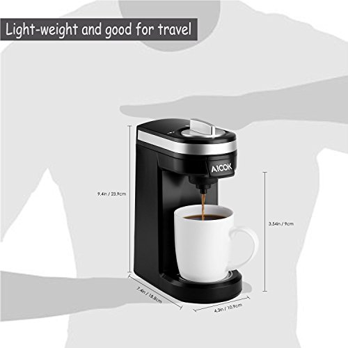 Aicok Single Serve Coffee Maker, Coffee Machine with 12OZ Water Tank, for Most Single Cup Pods including K-Cup Pods, Quick Brew Technology Travel One Cup Coffee Brewer by AICOK (Image #6)