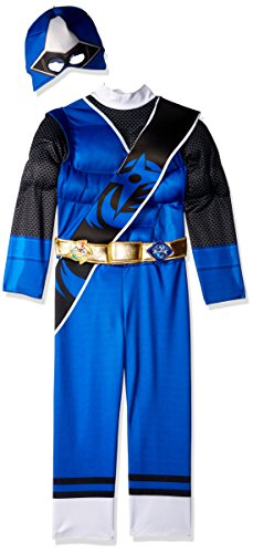 Power Rangers Ninja Steel Toddler Muscle Costume, Blue, Large (4-6) (Girl Power Ranger Costume)
