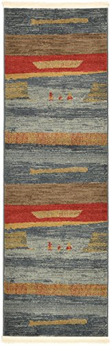 Land of Gabbeh Rugs Modern Contemporary Persian Design Blue 2' x 6' FT Runner Area Rug - Perfect for Any Home Décor - Living Room/Dinning Room/Play Room/Bedroom / Kids Room