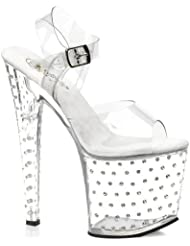 Summitfashions Womens 7 1/2 Inch Clear Rhinestone Platform Sandals Transparent Shoes Open Toe