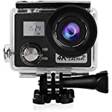 Acouto Action Camera 24M 4K Dual Disply Wifi Waterproof Sports Cam 170°Wide Angle with Waterproof Housing Case and Remote Control Accessories Kits
