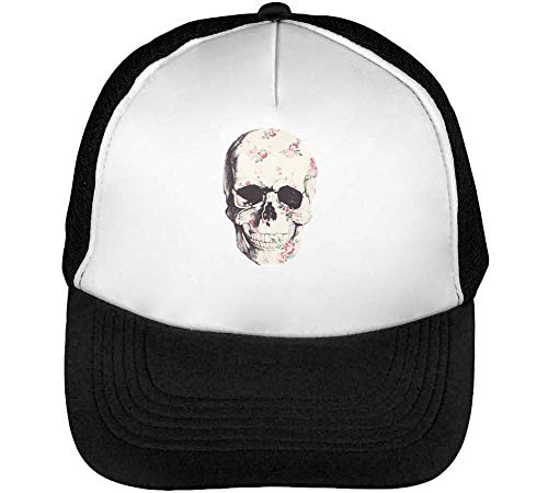 Flowerful Skull Gorras Hombre Snapback Beisbol Negro Blanco