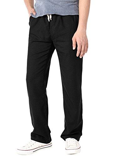 HEMOON Herren Leinenhose Lockere Casual Chino Jeans Strand Schwarz L