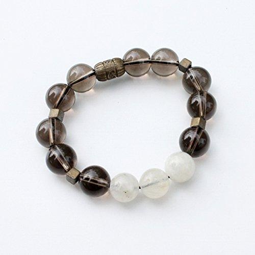 Smoky Quartz Crystal and Moonstone Zen Bracelet Size XS extra small