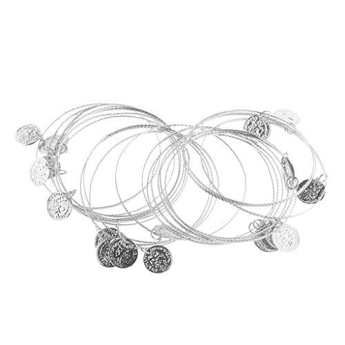 SM SunniMix 20pcs Multiple Metal Bangles Bracelets with Coins Dancer Hand Decors - Silver