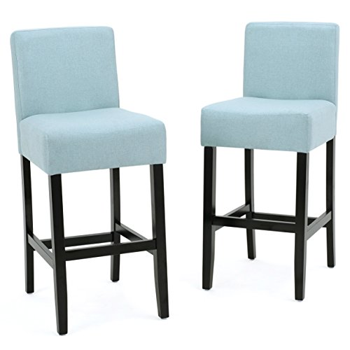 - ModHaus Living Modern Transitional Fabric Upholstered Set of 2 Counter Stool with Rubber Wood Legs - Includes Pen (Blue)