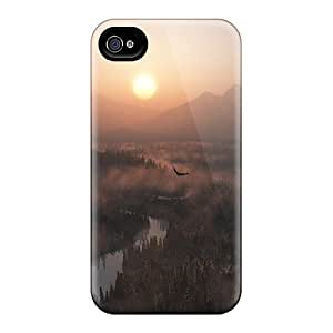New Fashion Premium Tpu Case Cover For Iphone 4/4s - Eagle Flying In The Mist