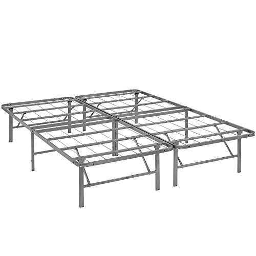 Modway Horizon Full Bed Frame In Silver - Replaces Box Spring - Folding Portable Metal Mattress Bed Frame With Storage - Low Profile - Heavy - Frame Metal Folding