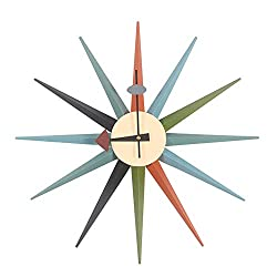 HHYS H663 Sunburst Wall Clock Wooden Mid Century Multi Color Handmade Antique Retro Nelson Style
