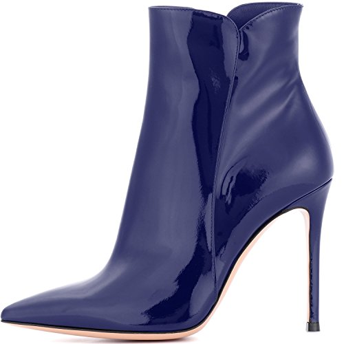 elashe Women High Heel Boots | 4 inch Pointy Toe Stilettos Patent Ankle Boots | Women's Fashion Stiletto High Heel Ankle Boots Navy