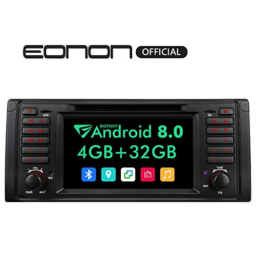 2019 Single Din Car Radio, Eonon in Dash Car Stereo Android 8.0 Octa-Core,4GB RAM 32GB ROM Applicable to BMW 5 Series (E39) Support Fastboot, Steering Wheel Control,WiFi,Backup Cameras-7 Inch -GA9201B