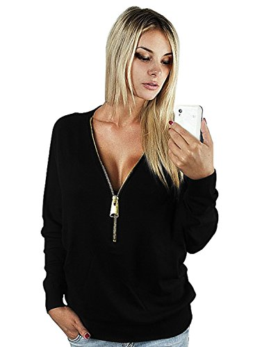 Zipp Sweat Shirt Pullover Manche T Femme Cindeyar Col Longue Pull Shirt Chemise Mode v Hiver Casual zwwZxAv6q