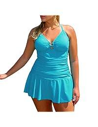 Women's Plus Size Sexy Swimsuit One Piece Slim Swimwear Bathing Suits Peplum