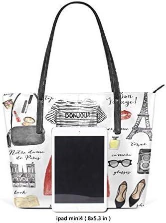 Fashion Style Paris Eiffel Tower PU Leather Shoulder Tote Bag Purse for Women Girls