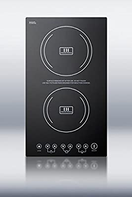 """Summit SINC2220 12"""" Smoothtop Electric Induction Cooktop With 2 Cooking Zones Schott Ceran Surface 7-Piece Cookware Set Automatic Pan Recognition 8 Power Levels and Child Lock in"""