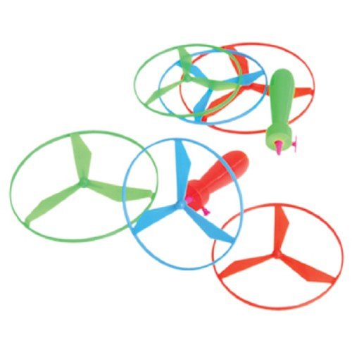 Dozen Assorted Color Helicopter Type Pull String Flying Disc Toys (Flying Type)