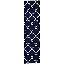 Unique Loom Trellis Collection Moroccan Lattice Navy Blue Runner Rug (3' x 10')