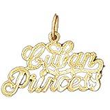 14K Yellow Gold Cuban Princess Pendant Necklace - 17 mm