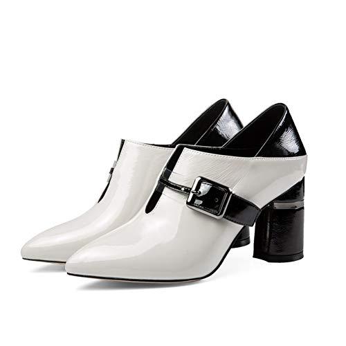 Punta Heels Hebilla 8 Mezclados Cuero De Colores Mujer Moda Primavera Fiesta Zapatos Pingxiannv Zapatillas Estrecha Cm Grey Hoof nvRZzY4Z
