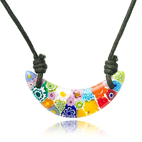 - Chuvora Millefiori Murano Glass Multi-Colored Crescent Moon Pendant 45 mm Adjustable Necklace 15