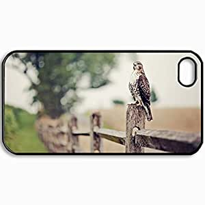 Customized Cellphone Case Back Cover For iPhone 4 4S, Protective Hardshell Case Personalized Falcon Black