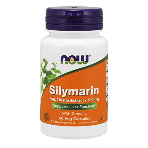 NOW Supplements, Silymarin Milk Thistle Extract 150 mg with Turmeric, Supports Liver Function*, 60 Veg Capsules
