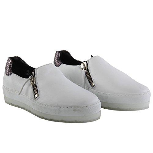 Diesel Damen Leder Low Sneaker Schuhe S-ANDYES Zip On White G01430 Größe 39