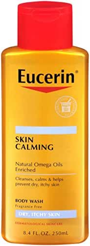 Eucerin Skin Calming Dry Skin Body Wash Oil Fragrance Free, 8.4 Ounce (Pack of 3) Packaging may vary