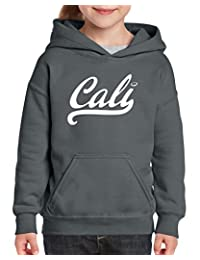 Xekia CALI in White California Republic CA Hoodie For Girls and Boys Youth Kids