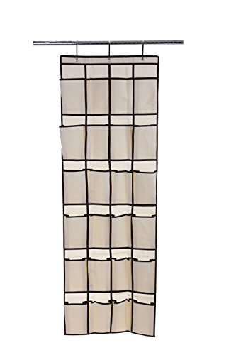 Ybmhome 24 Pocket Fabric Hanging Over the Closet Rod Shoe Storage Rack Organizer with 4 Metal Hanger Hooks Natural w/Brown Trim 2207 - Get Boots Advantage Card