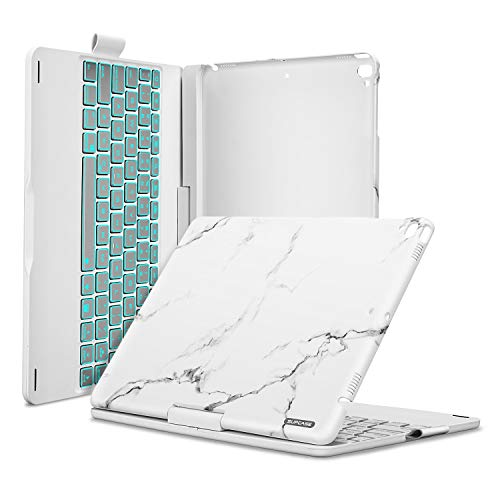 SUPCASE iPad 9.7 Keyboard Case for iPad 2018 (6th Gen)/ 2017 (5th Gen)/ iPad Pro 9.7 / iPad Air 2 & 1, 360 Rotate 180 Flip Wireless BT 7 Color LED Backlight Auto Wake/Sleep Keyboard Cover -Marble ()