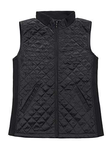 (Bienzoe Women Casual Quilted Sleeveless Light Weight Vest Stretch Rib Black S)