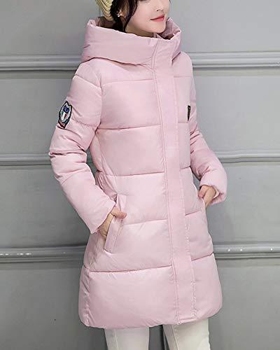 Manteau Pink Blouson Veste Slim Matelasse Doudoune Capuche Chaud Mi Fit Hiver Longue Femme paissir UO5SqxR