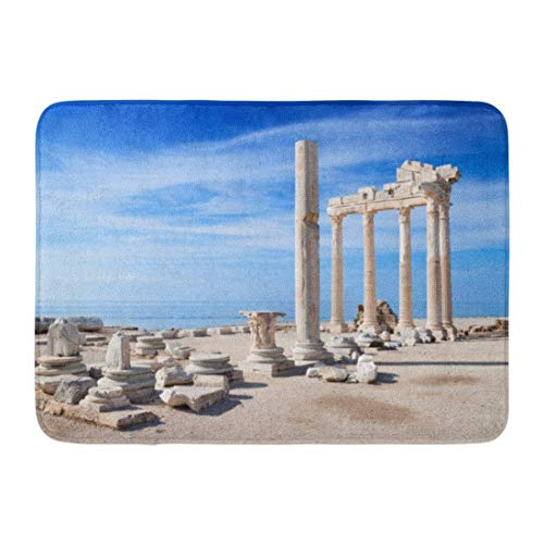 Jugbasee Doormats Bath Rugs Outdoor/Indoor Door Mat Colorful Antalya Temple of Apollo Ancient Ruins Turkey Side Greek City Bathroom Decor Rug 16 24 inch;
