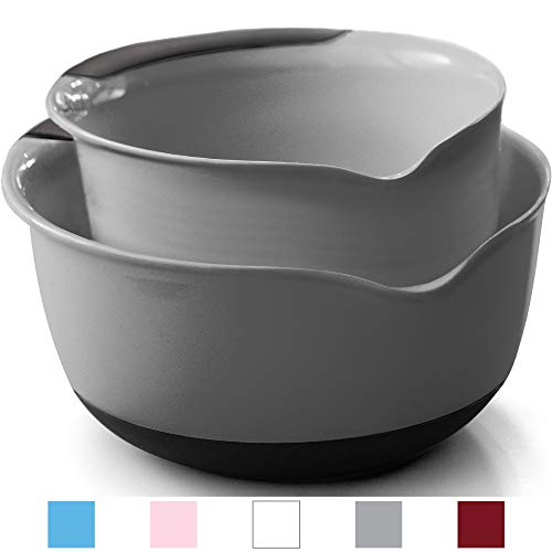 Gorilla Grip Original Mixing Bowls Set of 2, Slip Resistant Bottom, Includes 5 Qt and 3 Quart Nested Bowl, Dishwasher Safe, Grip Handle for Easy Mix and Pour, Baking and Cooking 2 Piece Set, Gray