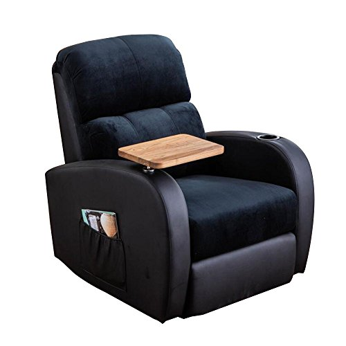 SogesHome 360 Degree Swivel Rocking Recliner Chair Lounge Sofa Living Room Chair ,Black Blue,sh-535-BB-S (Ship Rocking Chair Wooden)