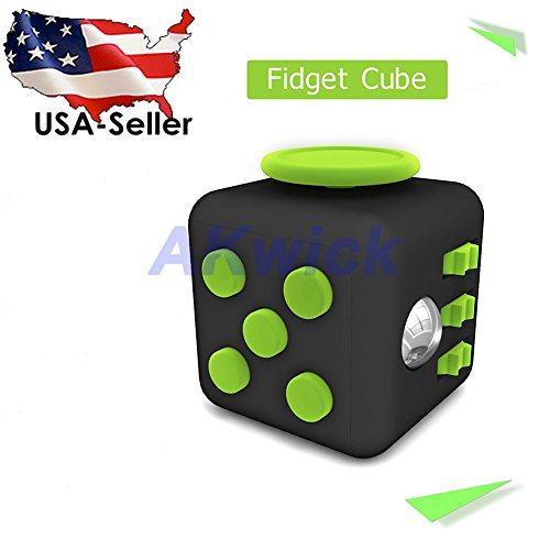 Fidget Cube 2017 USA Premium NEW 6 Sides Extra Durable Silicone Non-Plastic Relieves Stress Anxiety Relax Adult And Children Easy Carrying Work Class Home