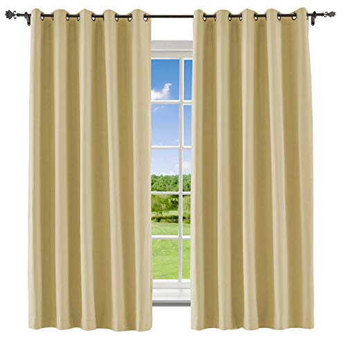Sahara Cotton Curtain - Macochico Blackout Curtain for Bedroom Bronze Grommet Polyester Cotton Room Darkening Drapes Liner for Living Room Bedroom Meetingroom,Sahara Sun 84W x 84L Inch (1 Panel)